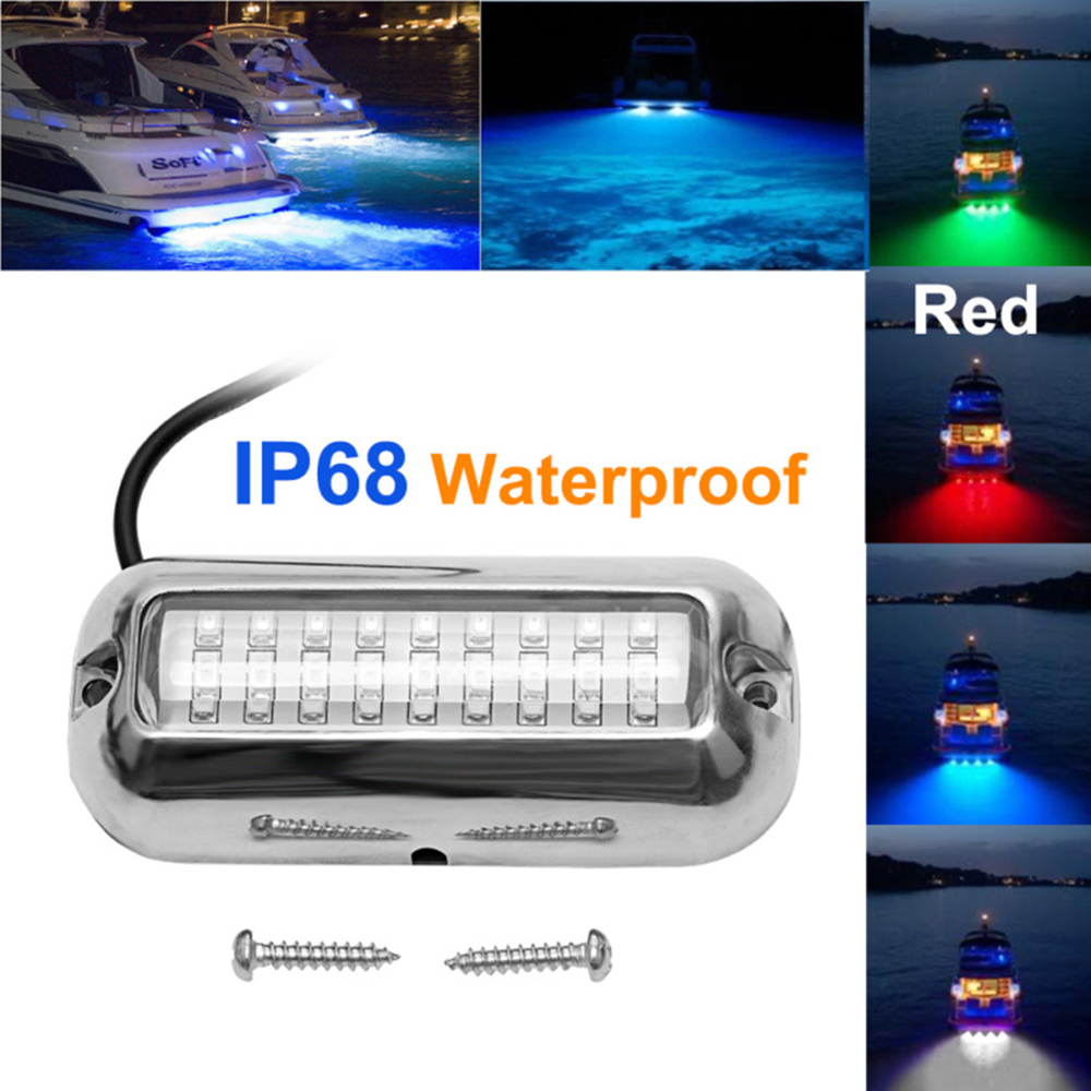 1x Stainless Steel 27LED Underwater Pontoon Marine//Boat Transom Lights 4 Colors