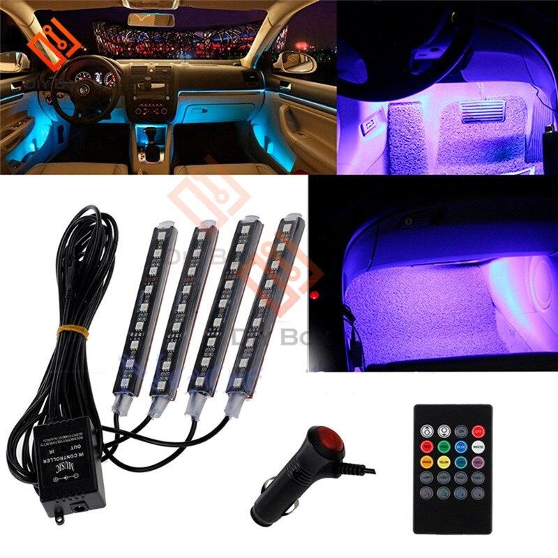 Auto Ha Condotto La Luce di Striscia Kit Auto Interni di Colore Rgb 9 Ha Condotto La Luce di Striscia Kit Senza Fili di Controllo di Musica di 7 Colore