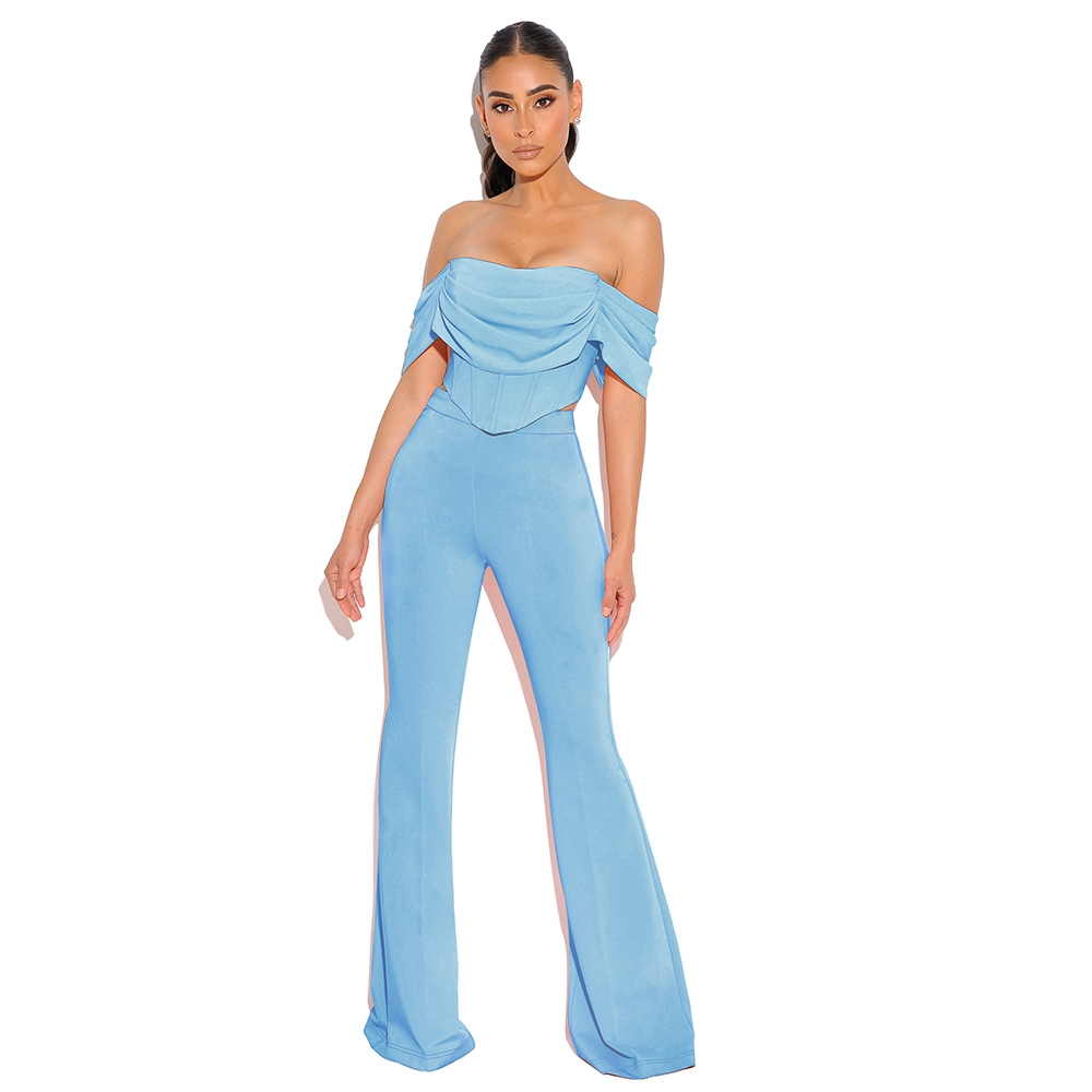 DeerLady Sexy 2 Piece Set Women 2020 Blue Crop Tops Off Shoulder High Waist Bodycon Pants Set Long Wide Leg Pants Set Club Party