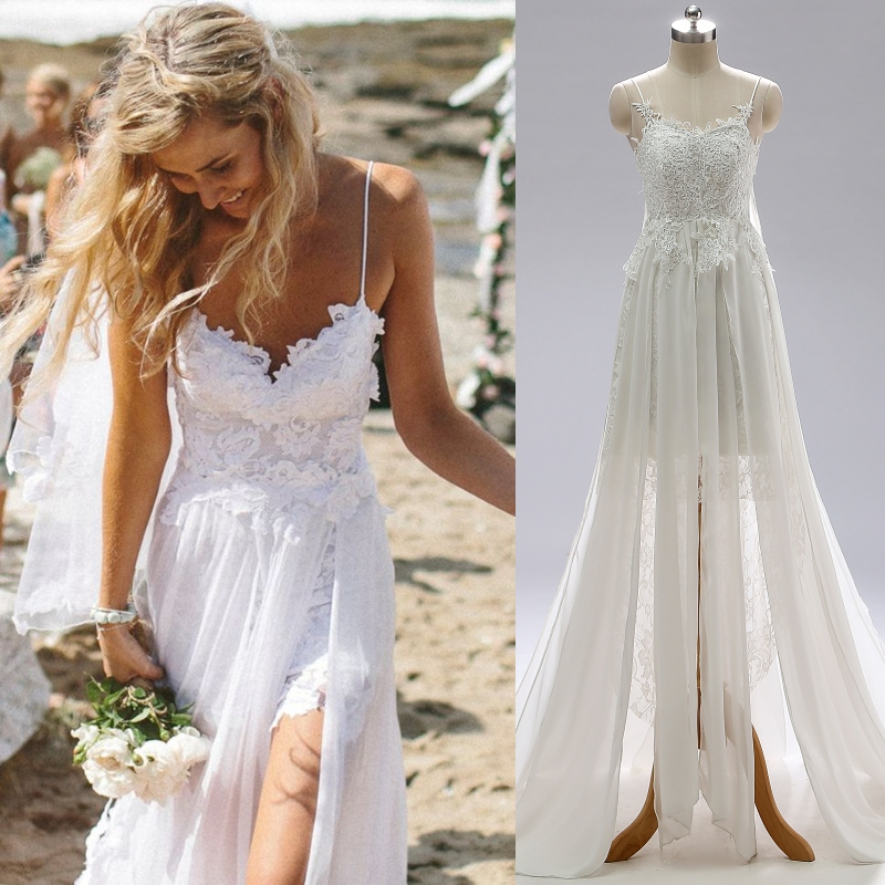 Spaghetti Straps Lace Backless Beach Outdoor Wedding Dress Bridal Gown 100% Real Sample Photo Factory Price