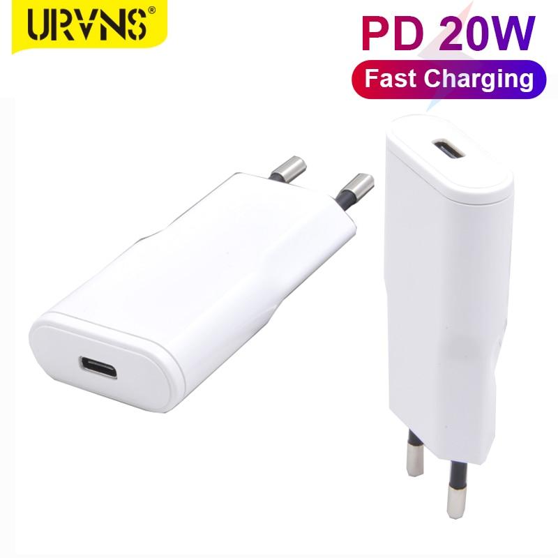 Устройство для быстрой зарядки URVNS Mini 20 Вт с европейской вилкой, ультракомпактное Сетевое зарядное устройство PD USB C для iPhone 12/Mini/Pro Max, AirPods Pro, ...