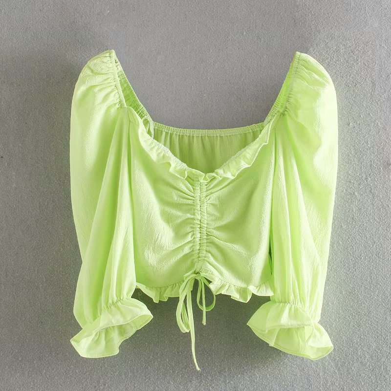New Women Sweet V Neck Solid Color Pleats Short Shirt Blouses Women Puff Sleeve Lace Up Roupas Femininas Chemise Shirts LS6472