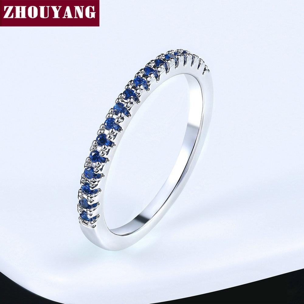 ZHOUYANG обручальное кольцо для женщин и мужчин лаконичное классическое многоцветное мини кубическое циркониевое розовое золото цвет подарок модное ювелирное изделие R251 - Цвет основного камня: R116