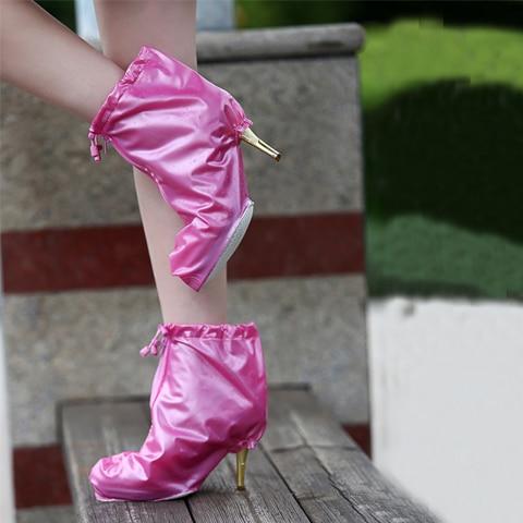 1 Pair Summer Women Heeled Rain Shoes Cover Waterproof Rainproof Outdoor Sport Bicycle Slip resistant Rain Overshoe Covers Women in Shoes Covers from Shoes