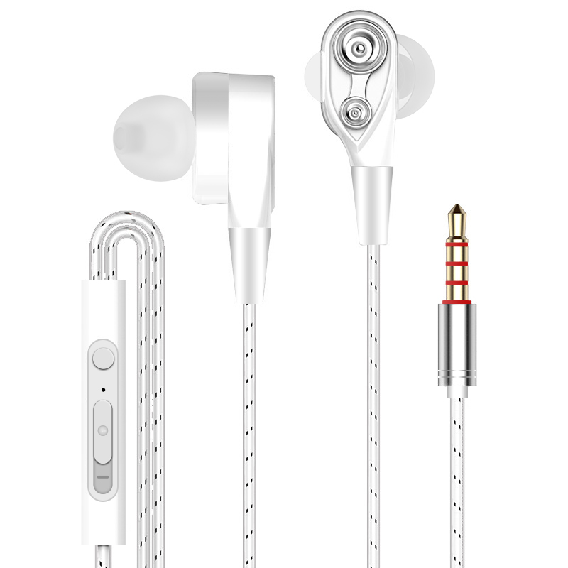 3.5mm Earphones Quad Core Double Action Ring Earphones Sports Music Earphones 3D Stereo Volume Control With Microphone