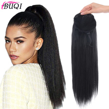 Heat Resistant Synthetic 22 Kinky Straight Hair With Plastic Combs Drawstring Ponytail Extension for fashion women fashion long straight 6h27h613 heat resistant synthetic hair extension for women