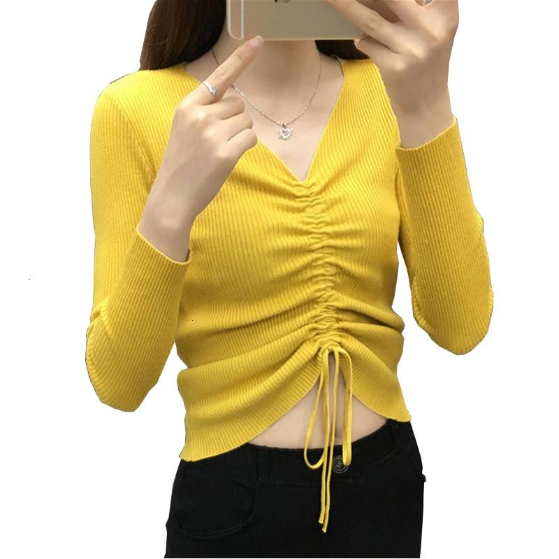 Restore New Fashion Casual V -neck Trui Women Long Sleeve Short Sexy Slender Cord Sweater Female YM973