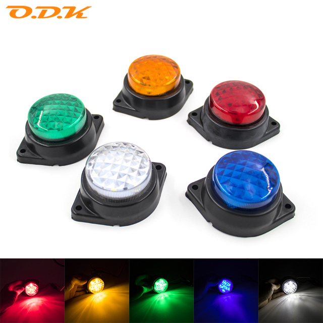 LED Car Trailer Truck Side Marker Signal Tail Light Indicator Brake Round Lamp Clearance Auto Truck Trailer Bus Lorry 24V