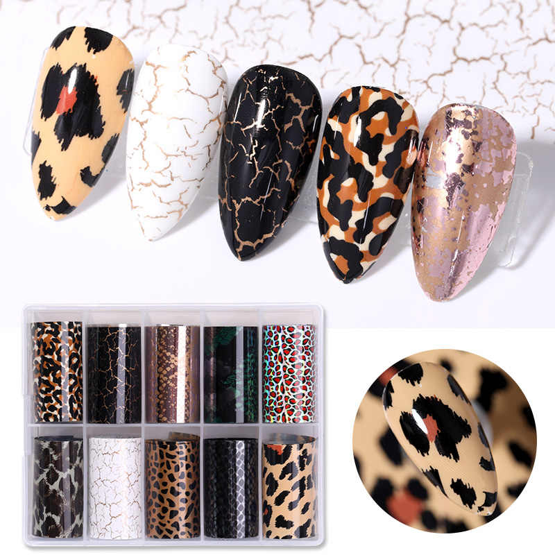 10 Rolls Snake Leopard Nail Folies Marmeren Nail Art Transfer Sticker Slider Nail Art Decal Manicuring Ontwerp Tip Decoratie 1 roll