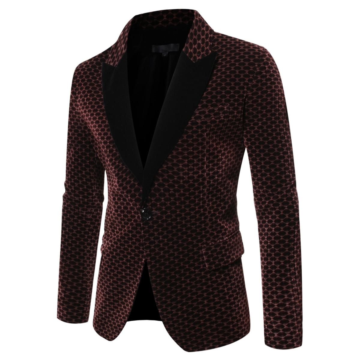 2019 Autumn Winter Blazer Vintage Luxury Velvet Men Suit Jacket For Wedding Party Formal Slim Fit Men's Business Dress Blazers
