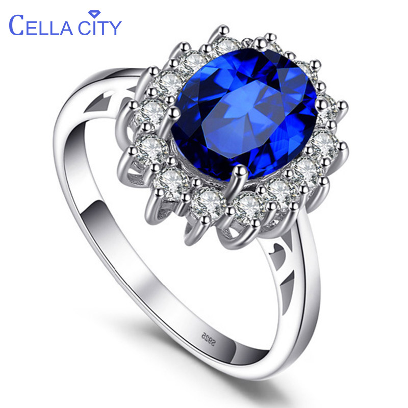 Cellacity Classic Oval Sapphire Ring for Women Flower shape Silver 925 Jewelry Gemstones Engagement Gift Wholesale Size 5-10