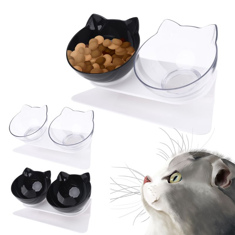 Non-slip Cat Double Bowls with Raised Stand Pet Food Water Bowl Cats Dog Feeder Pets Supplies High Quality and Brand New image