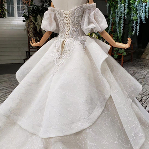 Image 4 - HTL980 vestido de noiva 2020 princess wedding dresses puff sleeve beads crystal china bridal dresses in turkey robe de mariee