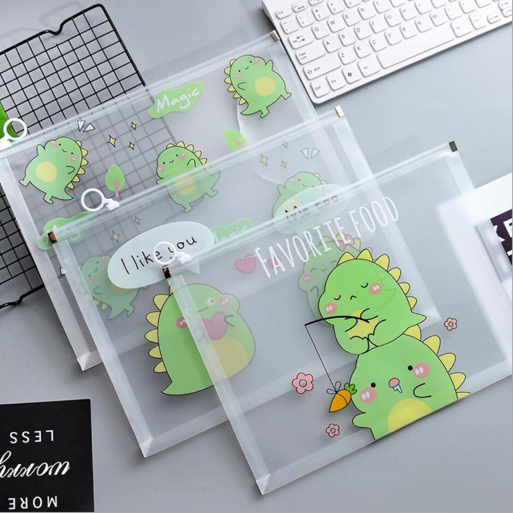 A4 Little Dinosaur Monster Thickened Zipper Waterproof PVC Transparent File Folder Document Filing Bag Stationery Bag