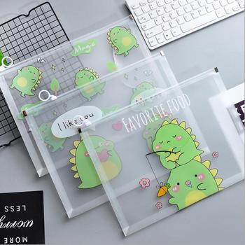 A4 Little Dinosaur Monster Thickened Zipper Waterproof PVC Transparent File Folder Document Filing Bag Stationery Bag