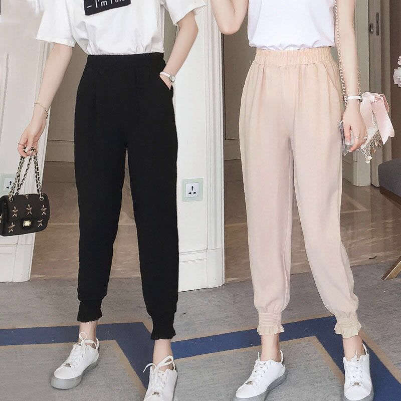 Pants Spodnie Damskie Trousers Women Comfy Harem Mid Waist Elastic Drawstring Solid Color Loose Straight Casual Long Nine Pants: