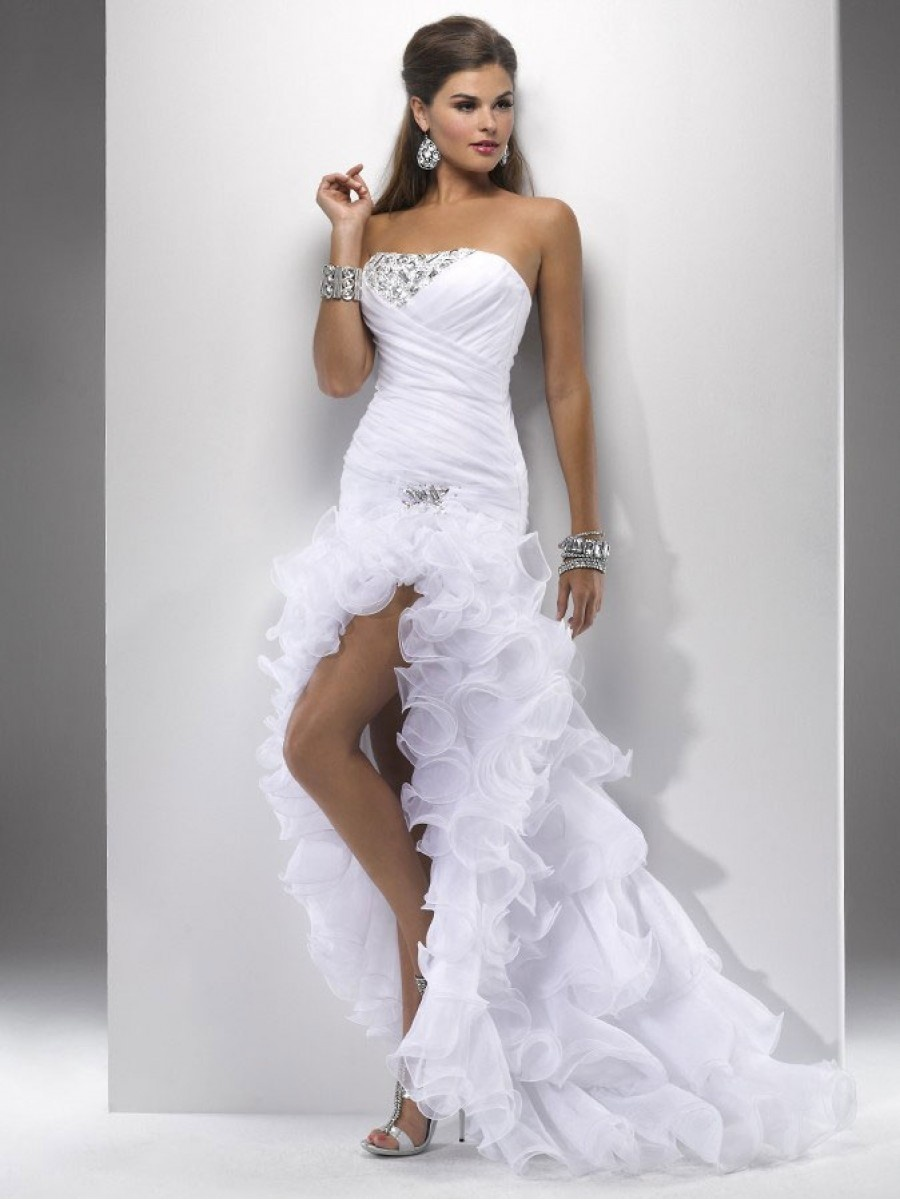 Vestido De Novia Sexy Wedding Dress Organza Beading Short Front Long Back Bridal Gown