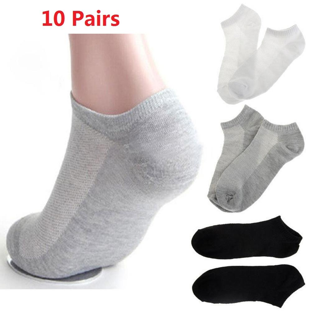 10 Pairs Anti-slip Men Sports Socks Cycling Basketball Running Sport Sock Soft Breathable Ankle SocksCrew Casual Low Cut Cotton
