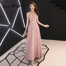 Розовое вечернее платье it's yiiya r290 блестящее длинное