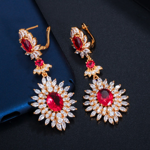 Image 4 - CWWZircons Yellow Gold Color Indian Red CZ Crystal Vintage Ethnic Bridal Long Big Wedding Earrings Jewelry for Women CZ301