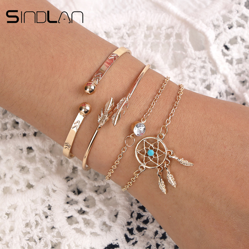 Sindlan 4PCs Gold Thick Feather Bangles Bracelets Set Boho Dreamcatcher Charm Bracelets for Women Wrist Bracelets Femme Jewelry