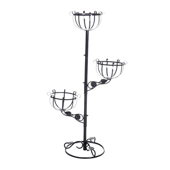 VICTMAX European Nordic Style Wrought Iron Plant Stand Flower Pot Holder for Home Garden Decor - Black