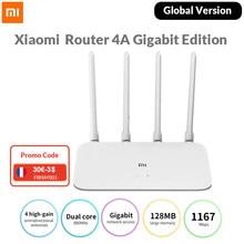 Versão global xiaomi mi roteador 4a gigabit edição ac1200 roteador 2.4ghz 5ghz banda dupla wifi roteador 64mb 4 antenas controle de aplicativo