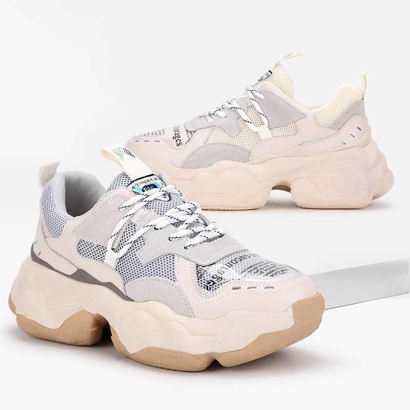 Krasovki Genuines Sepatu Wanita Musim Gugur Putaran Kaki Dropshipping Fashion Bernapas Slip Warna Campuran Mesh Santai Wanita Sepatu