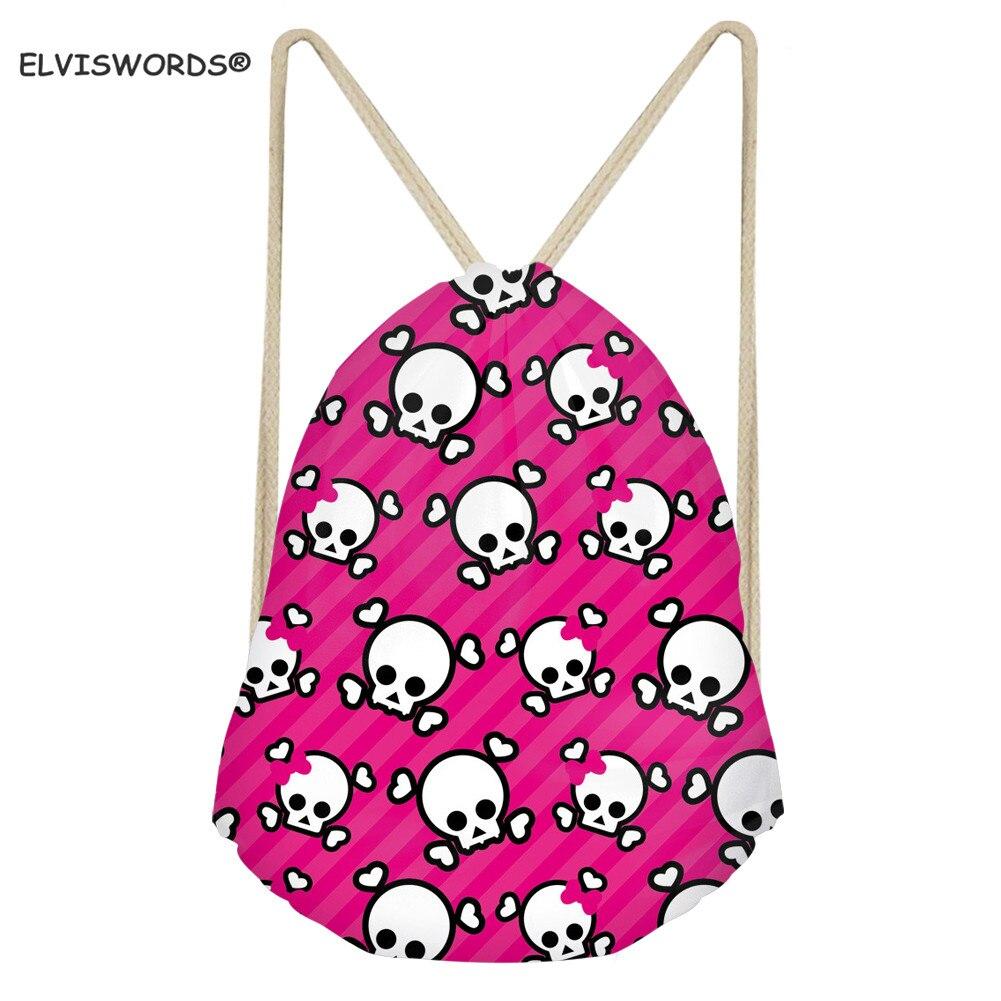 ELVISWORDS Cute Skull Print Drawstring Backpack Gym Sack Bags Sport Travel Shoulder Storsge Rucksack School Bag For Girls Kids