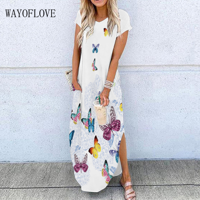 WAYOFLOVE белое платье с 3D принтом бабочки 2021 летние пляжные повседневные сексуальные длинные платья с разрезом женское элегантное платье с кор...
