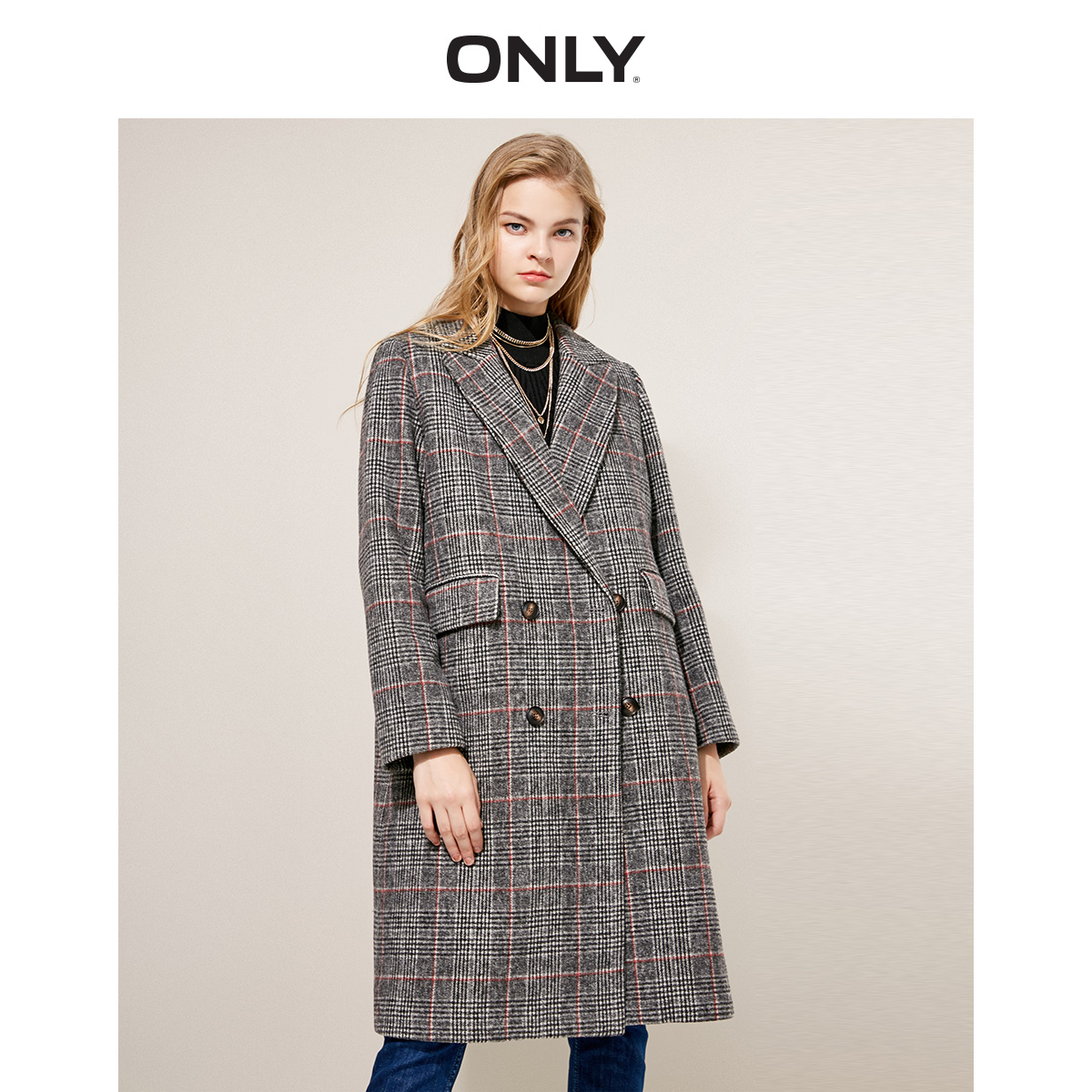 ONLY Women's Winter New Retro Double-breasted Double-breasted Long Woolen Coat | 118427501