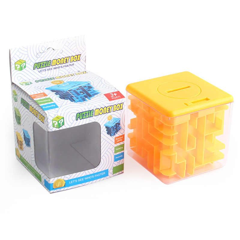 3D Cube puzzle money maze bank saving coin collection case box fun brain SP1