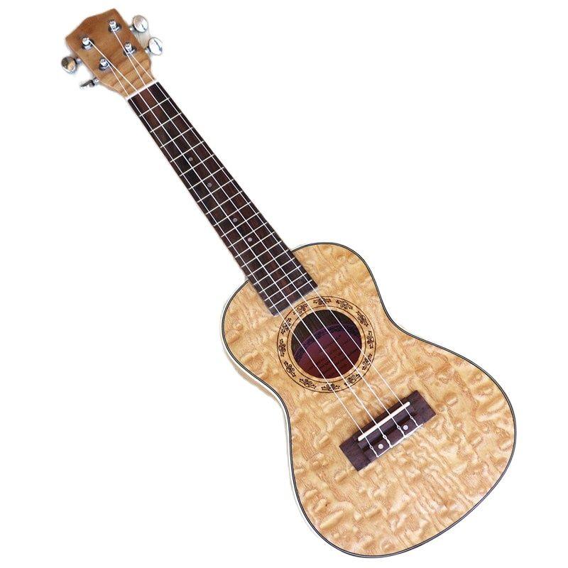 Ukulele guitar 4 string full ashwood body 24 inch natural color matte finish children mini uk bass guitar with free ukulele bag