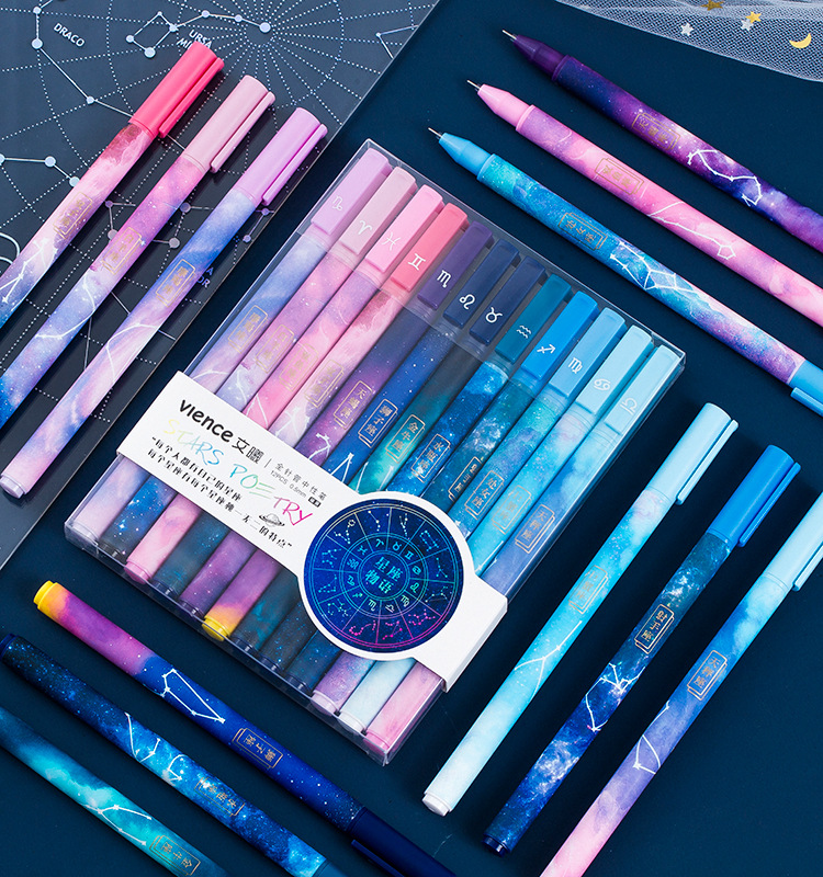 12Pcs/lot Twelve Constellation Gel Pen Set Cute 0.5mm Black Gel Pen Handle For School Office Supplies Stationery Writing Tools