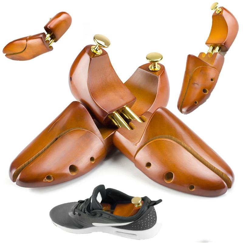 Men's And Women's Shoe Trees Twin Tube Adjustable Natrual Schima Superba Wood Shoe Tree Shoe Stretcher