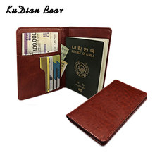 KUDIAN BEAR Leather Passport Cover Men Travel Credit Card Holder Cover Russian Passport Wallet for Document BIH066 PM49(China)