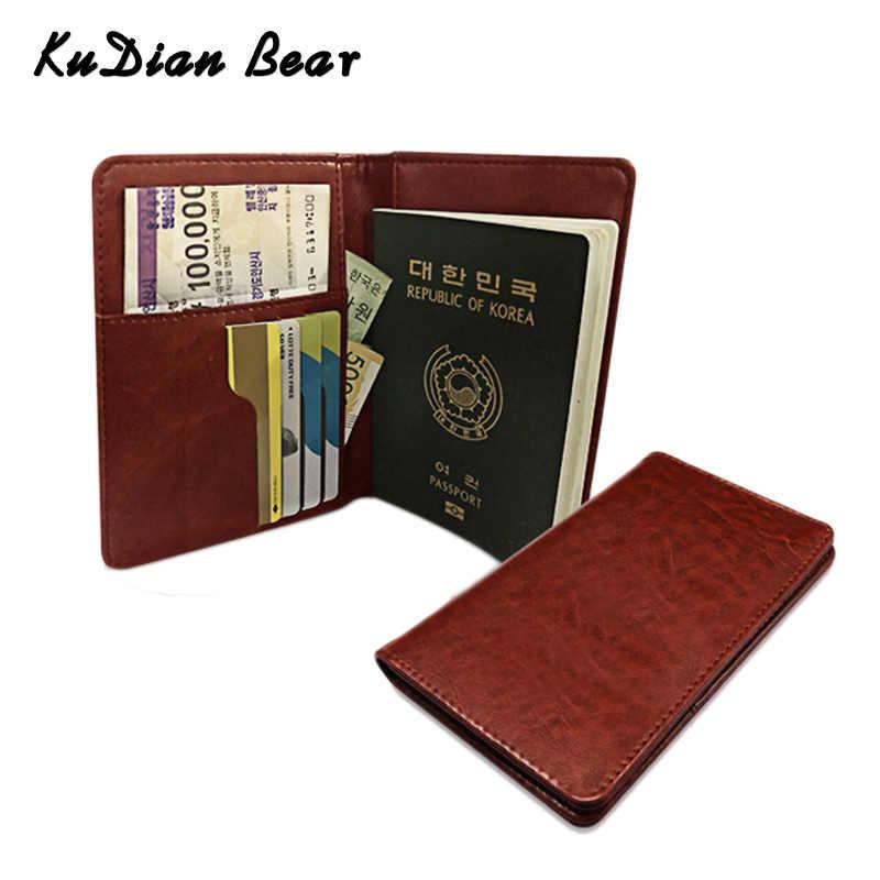 KUDIAN oso cuero pasaporte cubierta hombres viaje tarjeta de crédito cubierta pasaporte ruso billetera para documento BIH066 PM49