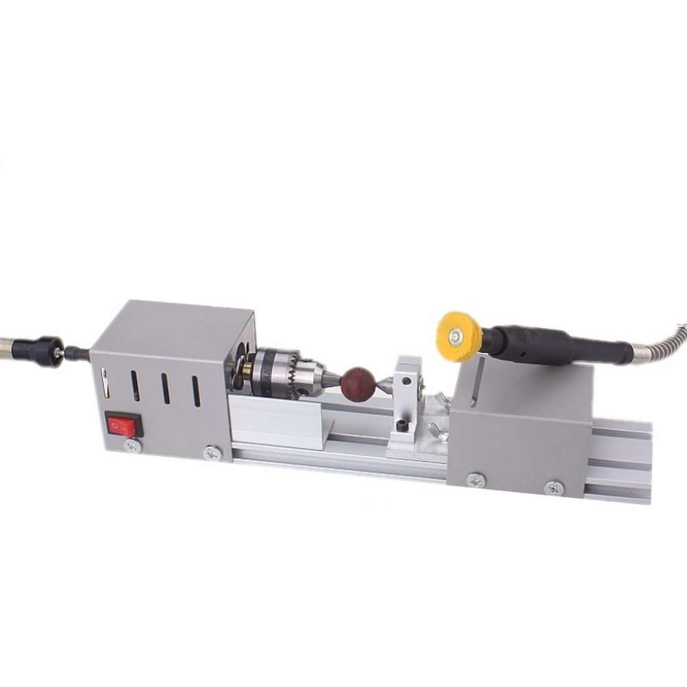 Domestica CNC 24VDC Mini Lathe Machine DIY Woodworking Buddha Pearl Grinding  Meter Polishing Beads Wood Lathe Drill Rotary Tool