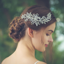 Silver Color Leaf Rhinestone Clip Headband Bridal Tiara Headband Wedding Hair Accessories Ornament Women Accessories Headdress недорого