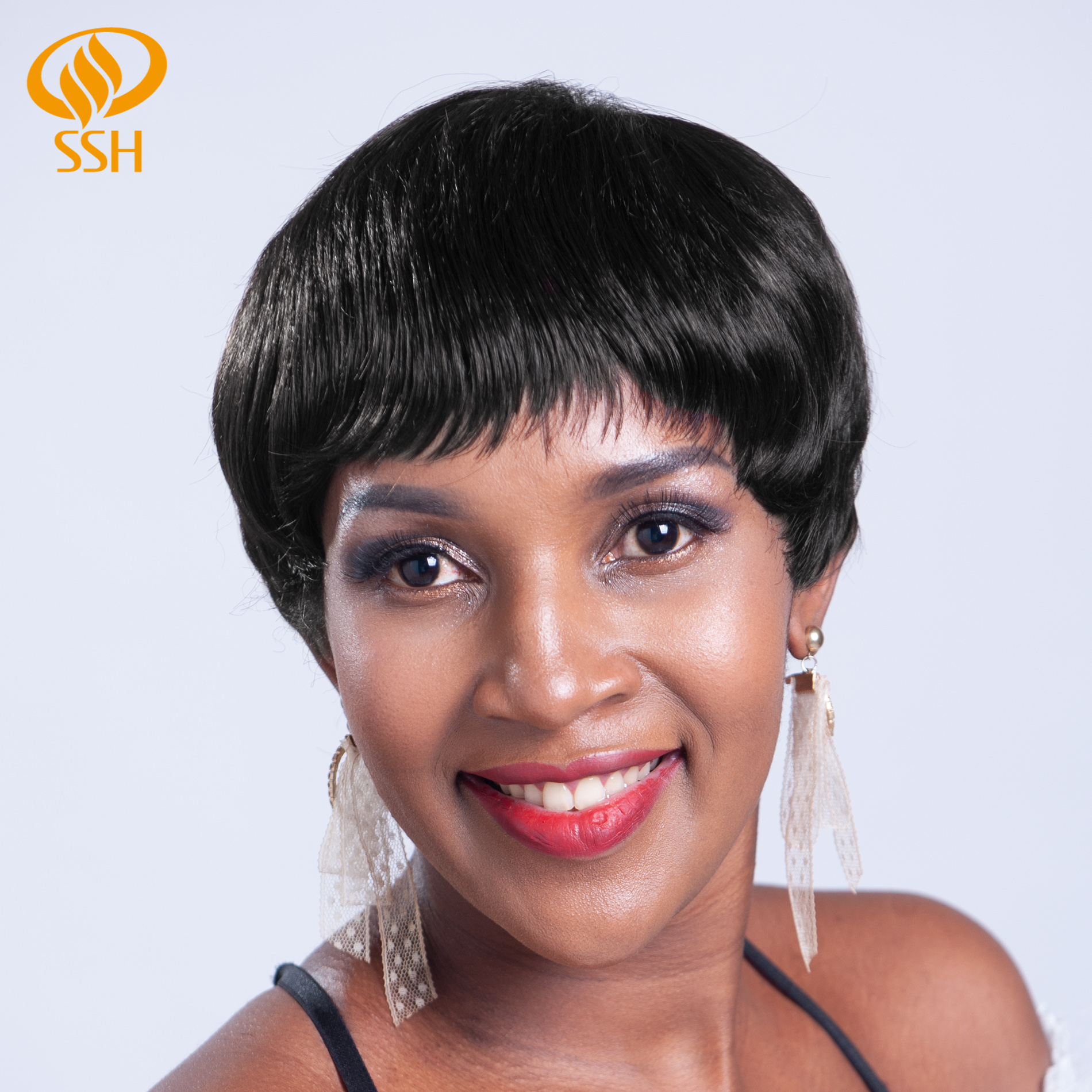 SSH Natural Straight Non-Remy Short Pixie Cut Human Hair Wig Shedding Free