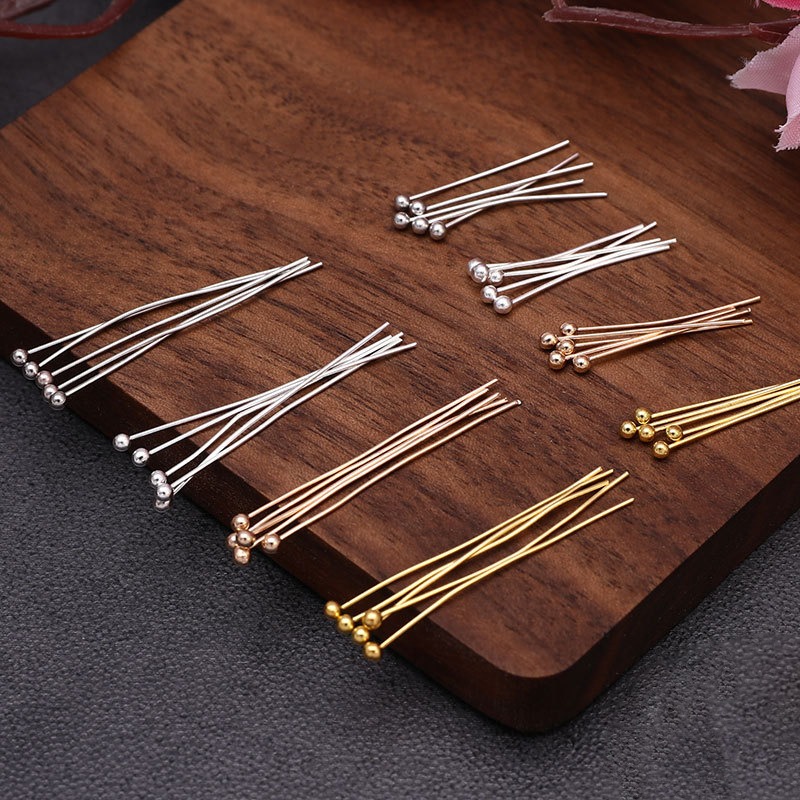 200pcs/lot Gold Rhodium Color Metal Ball Head Pins 20/30/40/50mm Needles Headpins Findings For DIY Jewelry Accessory Making