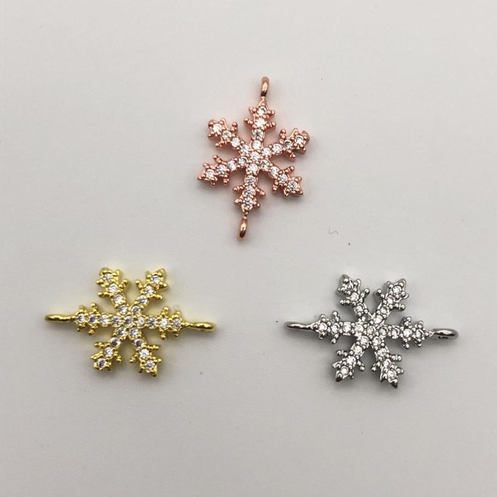 Peixin DIY Jewelry Hot Sale Copper Inlaid Zircon Snowflake Connector Accessories Women Handmade Bracelet Earring Jewelry Making