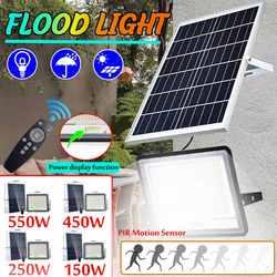 150/250/450/550 Вт Солнечный Прожектор, светильник s открытый прожектор, датчик движения, светодиодный светильник, водонепроницаемый настенный св...