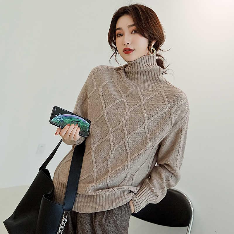 2019 가을과 겨울 새로운 캐시미어 울 높은 칼라 스웨터 두꺼운 풀오버 게으른 느슨한 스웨터 여자 편직 프라이머 셔츠