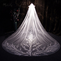 Optcely Exquisite White 2019 Veils Bridal Accessories Bridal Lace Veil With Comb Cathedral High Quality 3m Long Bridal Train