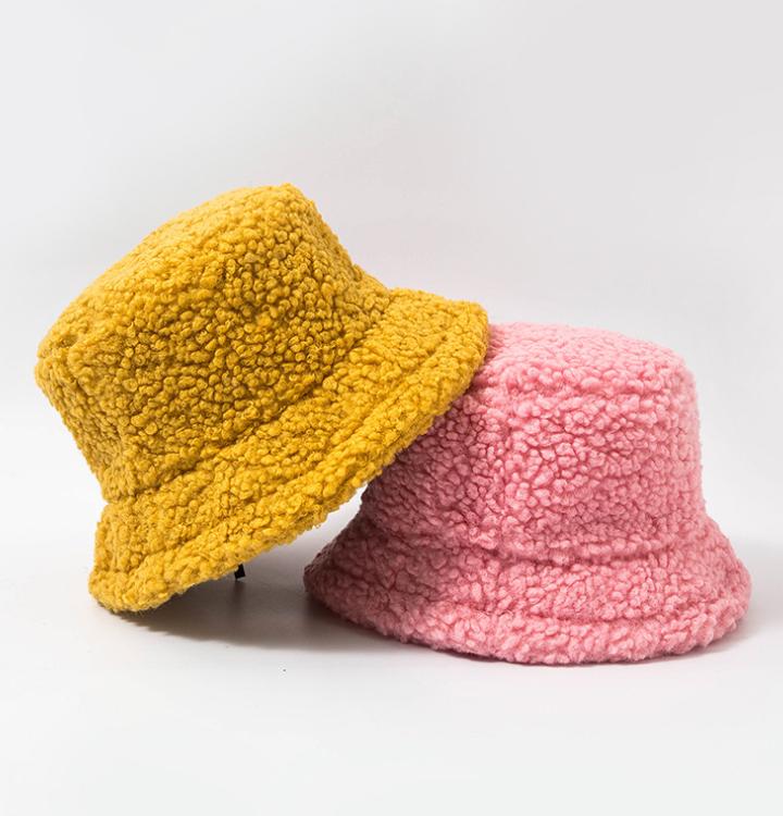 Women Hat Solid Artificial Fur Warm Female Cap Faux Fur Winter Bucket Hat for Women Outdoor Sunscreen Sun Hat Panama Lady Cap