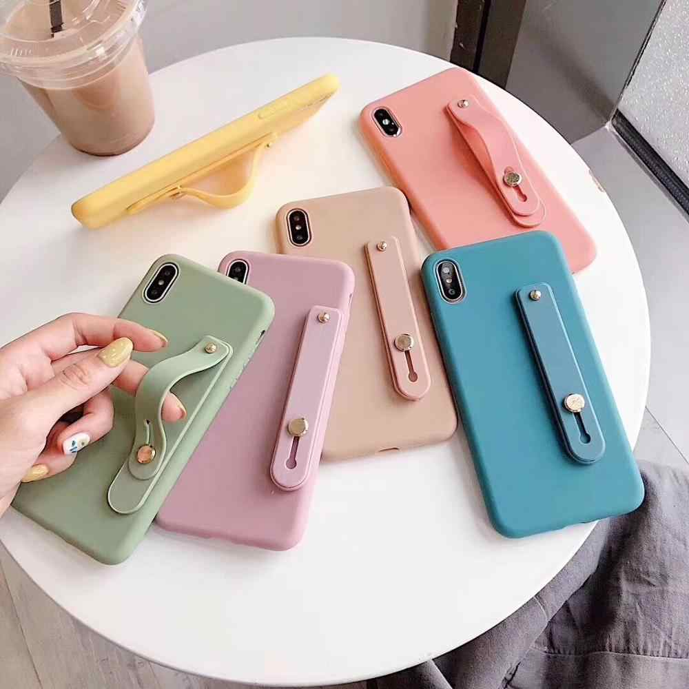 Cukierki kolor pasek na nadgarstek uchwyt miękki futerał na telefon dla iphone X XR XS MAX 6S 7 8 Plus 11 dla samsung S8 S9 S10 e S20 Note10 Lite +