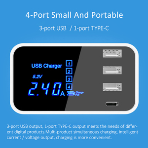 Image 2 - Quick Charge Type C USB Charger HUB Led Display Wall Charger Fast Mobile Phone Charger USB Adapter EU US UK Plug For iPhone X XS