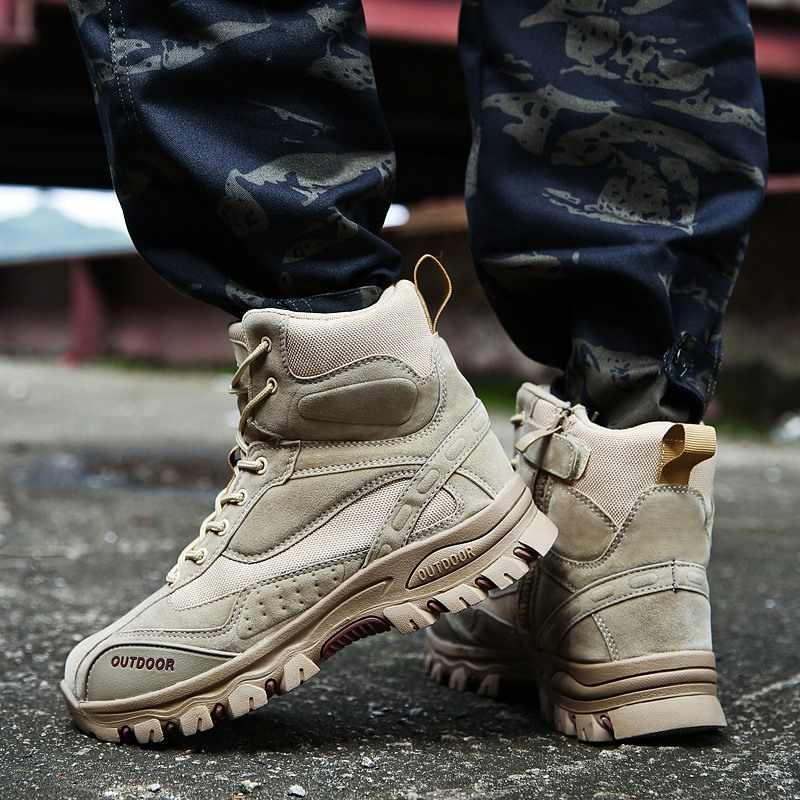 2019 New Winter Men Boots Ankle Rubber Military Combat Boots Men Sneakers Casual Shoes Outdoor Work Safety Boots Man