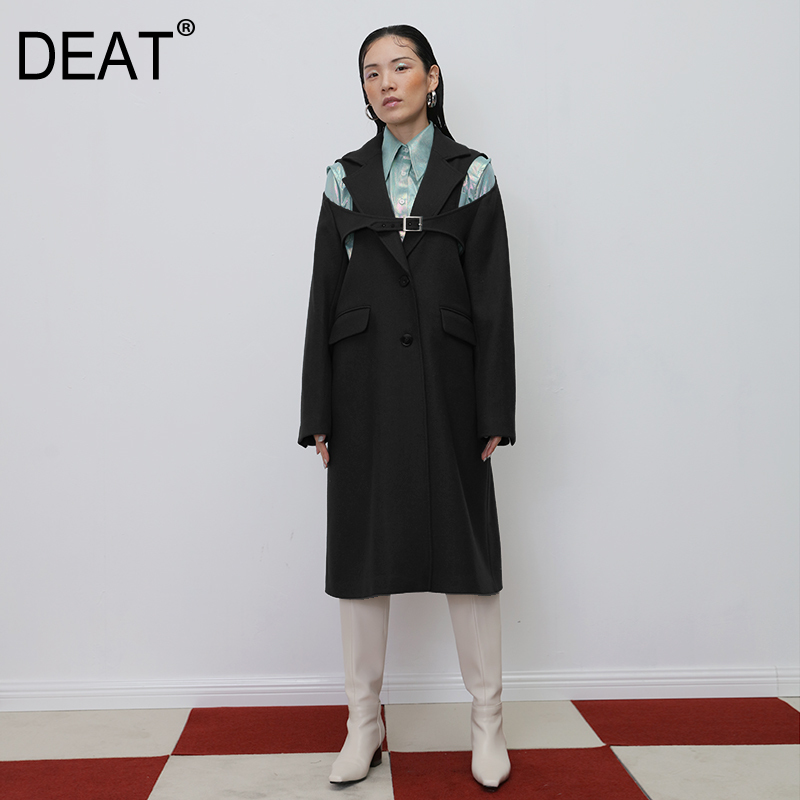 DEAT 2020 New Spring Solid Color Lapel Single Breasted Hollow Out Mid-length Woolen Coat Women Vintage Loose Coat Tide PD264
